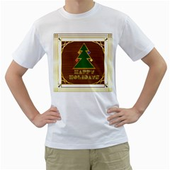 Art Deco Holiday Card Men s T-Shirt (White) (Two Sided)