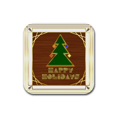 Art Deco Holiday Card Rubber Square Coaster (4 Pack)