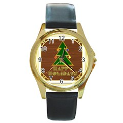Art Deco Holiday Card Round Gold Metal Watch