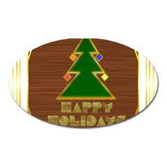 Art Deco Holiday Card Oval Magnet