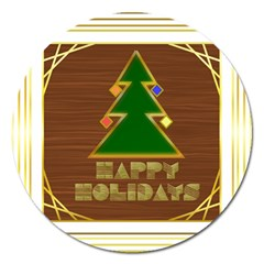 Art Deco Holiday Card Magnet 5  (round)