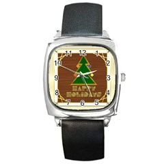 Art Deco Holiday Card Square Metal Watch