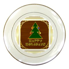 Art Deco Holiday Card Porcelain Plates