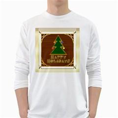 Art Deco Holiday Card White Long Sleeve T Shirts