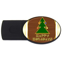 Art Deco Holiday Card USB Flash Drive Oval (4 GB)