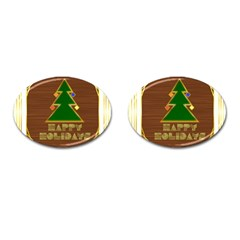 Art Deco Holiday Card Cufflinks (oval)