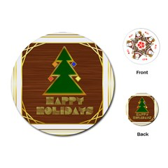 Art Deco Holiday Card Playing Cards (round)