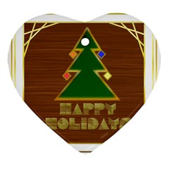Art Deco Holiday Card Heart Ornament (2 Sides)