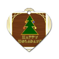 Art Deco Holiday Card Dog Tag Heart (one Side)