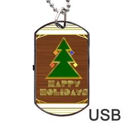 Art Deco Holiday Card Dog Tag Usb Flash (one Side)