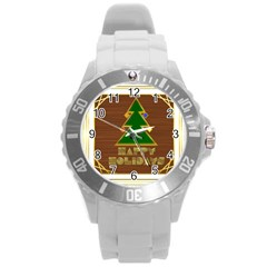 Art Deco Holiday Card Round Plastic Sport Watch (l)