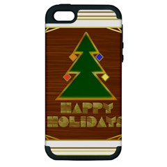 Art Deco Holiday Card Apple Iphone 5 Hardshell Case (pc+silicone)