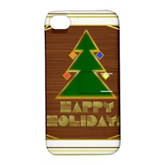 Art Deco Holiday Card Apple Iphone 4/4s Hardshell Case With Stand