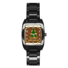 Art Deco Holiday Card Stainless Steel Barrel Watch