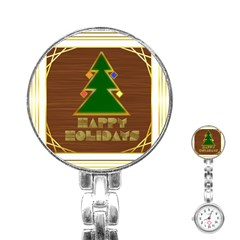 Art Deco Holiday Card Stainless Steel Nurses Watch