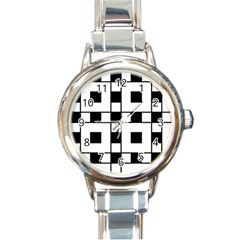Black And White Pattern Round Italian Charm Watch