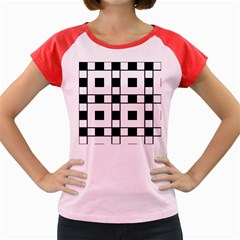 Black And White Pattern Women s Cap Sleeve T Shirt