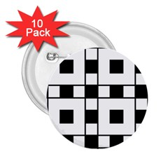 Black And White Pattern 2 25  Buttons (10 Pack)