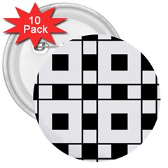Black And White Pattern 3  Buttons (10 Pack)