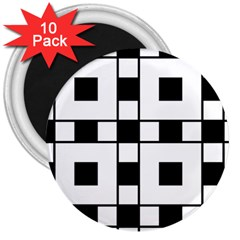 Black And White Pattern 3  Magnets (10 Pack)