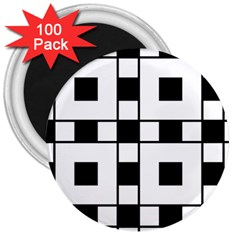 Black And White Pattern 3  Magnets (100 Pack)
