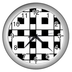 Black And White Pattern Wall Clocks (silver)