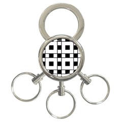 Black And White Pattern 3 Ring Key Chains