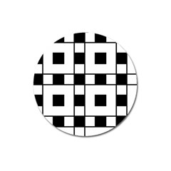 Black And White Pattern Magnet 3  (round)