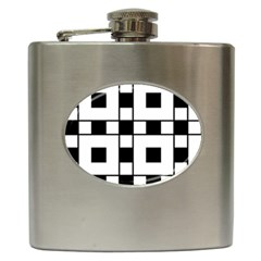 Black And White Pattern Hip Flask (6 Oz)