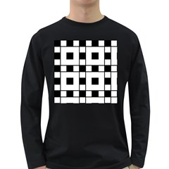 Black And White Pattern Long Sleeve Dark T Shirts