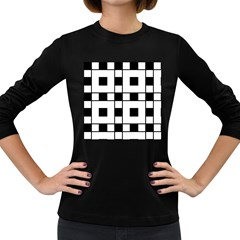 Black And White Pattern Women s Long Sleeve Dark T Shirts