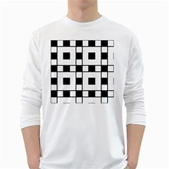 Black And White Pattern White Long Sleeve T Shirts
