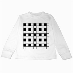 Black And White Pattern Kids Long Sleeve T Shirts