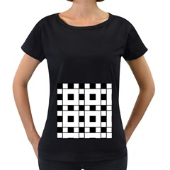 Black And White Pattern Women s Loose Fit T Shirt (black)