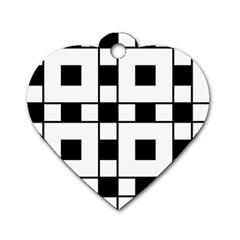 Black And White Pattern Dog Tag Heart (two Sides)