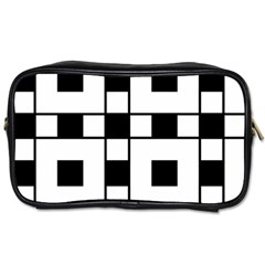 Black And White Pattern Toiletries Bags 2 Side