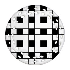 Black And White Pattern Round Filigree Ornament (2side)