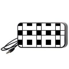 Black And White Pattern Portable Speaker (black)
