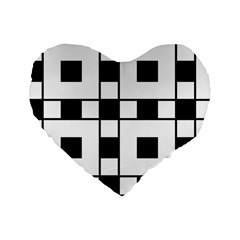 Black And White Pattern Standard 16  Premium Heart Shape Cushions