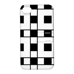 Black And White Pattern Apple Iphone 4/4s Hardshell Case With Stand