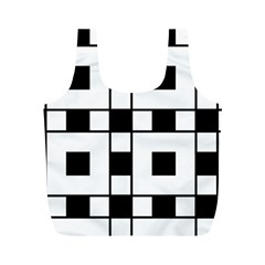 Black And White Pattern Full Print Recycle Bags (m)