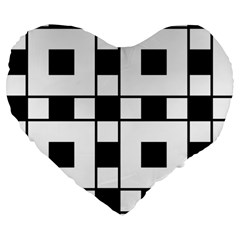 Black And White Pattern Large 19  Premium Flano Heart Shape Cushions