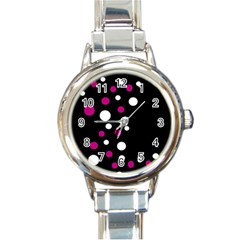 Pink and white dots Round Italian Charm Watch