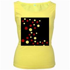 Pink and white dots Women s Yellow Tank Top