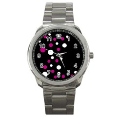 Pink and white dots Sport Metal Watch