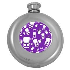 Gentleman pattern - purple and white Round Hip Flask (5 oz)