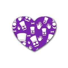 Gentleman pattern - purple and white Rubber Coaster (Heart)