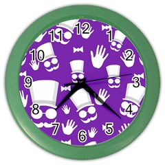 Gentleman pattern - purple and white Color Wall Clocks