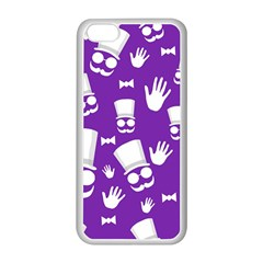 Gentleman Pattern   Purple And White Apple Iphone 5c Seamless Case (white)