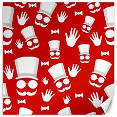 Gentlemen - red and white pattern Canvas 12  x 12